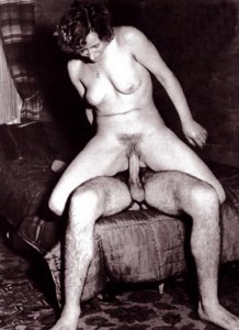 retro chick riding a cock
